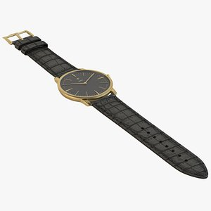 luxury watch gold black 3D
