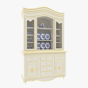 China Cabinet White 3D model