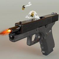 Glock 19 PBR Low poly 3D model