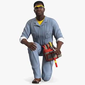 3D model dark skin black man