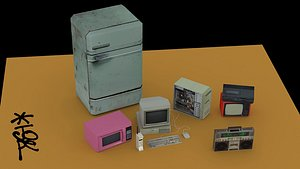OLD-SCHOOL LOW-POLY APPLIANCES COLLECTION 3D model
