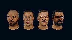4 Male Heads model