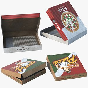 3D 2 Pizza Boxes Dirty