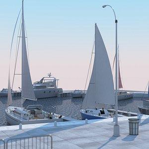 3D Yacht Marina model