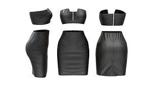 3D Leather V Top and Skirt