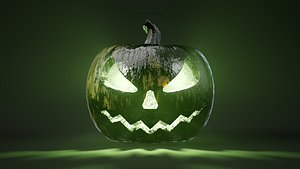 Rigged and animated venomous halloween pumpkin with 4K PBR 3D model