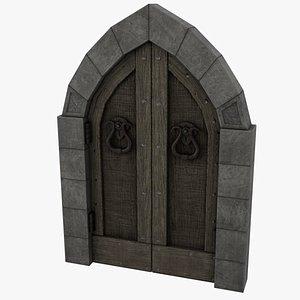 3D Medieval Door Arched Double Tear Handles 3D Model Low-poly 3D model