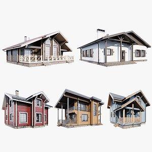 3D model Set of five houses
