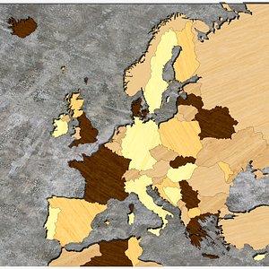 3D Europe map model