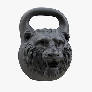 3D model A iron sports kettlebell in the shape of a lion head