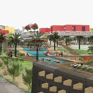 Radical beach side masterplan 3D model