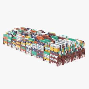 3D Colorful Maersk Cargo Shipping Containers Stacked