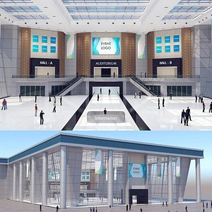 modular virtual exhibition hall 3D model