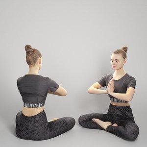 3D model Woman practicing yoga 301