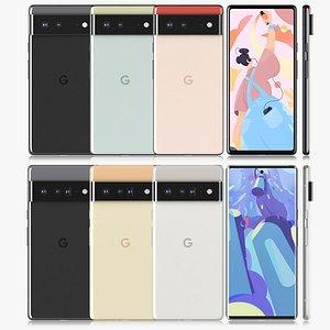 Google Pixel 6 and Pixel 6 Pro all colors 3D