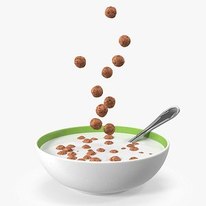 3D Chocolate Balls Falling into Bowl with Milk