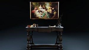 retro livingroom decoration sideboard 3D model