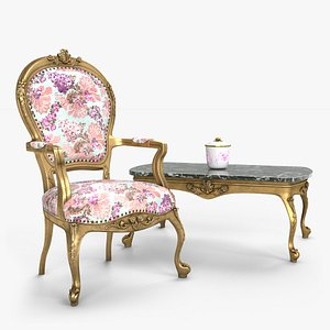 Louis XV Armchair Set 3D model