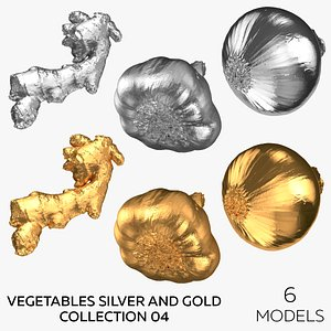 3D model Vegetables Silver and Gold Collection 04 - 6 models