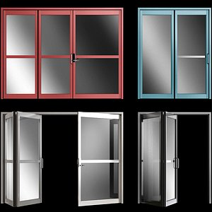 folding metal automatic door 3D model