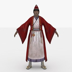 3D model Chinese Man warrior Rigged
