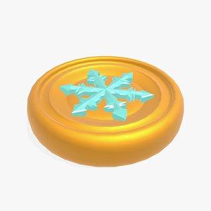 3D ice spell token