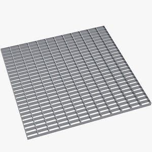 3D Open mesh steel grating flooring model