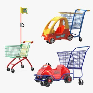 3D model Supermarket Toy Shopping Carts  Collection