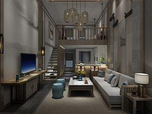 3D Duplex room model apartment LOFT living room