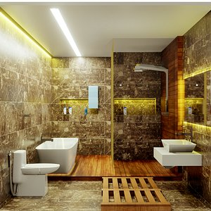 Bathroom - Low poly - Game Ready 3D model