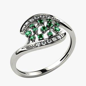 Emerald Gems Gold Ring 3D model