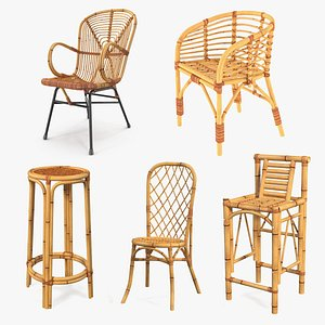 3D Bamboo Chairs Collection 2 model