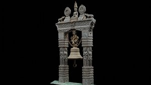 3D scanned carved bell with 3 LOD - Nepal Heritage model