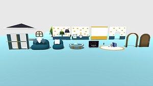 3D model Kawaii House Interior Pack