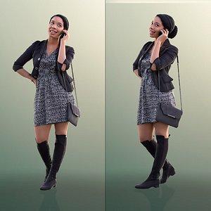 3D model woman dress phone