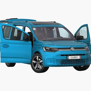 VW  Caddy 2022 Opening doors and trunk 3D