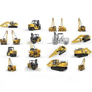 Collection: Excavator Tractor Forklift Komatsu 3D model