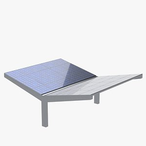 Double parking shelter with solar panels 3D model