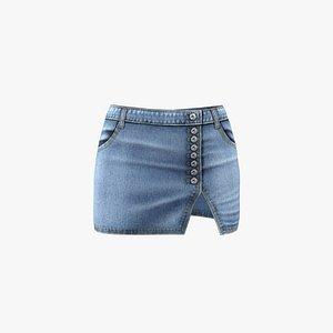3D Denim Skirt model
