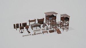 Set of 33 Ancient Camping Assets 3D model