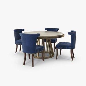 Blue Fabric Velvet Art Deco Dining Table Set 3D model