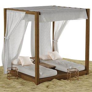 3D beach lounge outdoor set