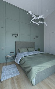 Spacious bedroom with shower 3D model
