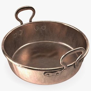 antique copper preserving pan 3D