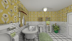 3D cartoon bathroom interior room model