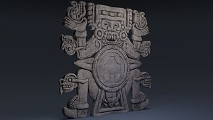 3D model tlaltecuhtli aztec monster
