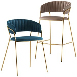 3D Cult Furniture Chloe Dining Chair and Stool model
