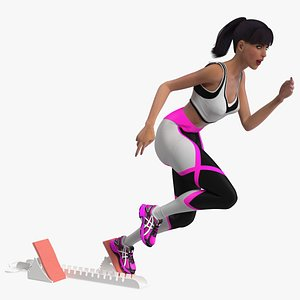 Woman Athlete with Starting Block Rigged for Cinema 4D 3D model