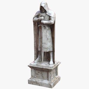 3D Knight Statue Botticino Marble - PBR