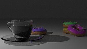 donut coffee 3D model